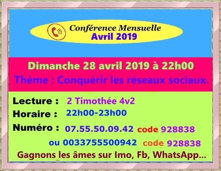 Intercession pour Tous - Avril 2019